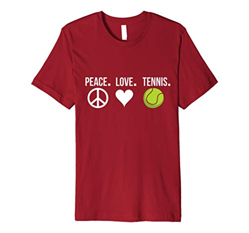 Peace Love Tennis Player T-Shirt Tennis Ball Singles DOUBLES