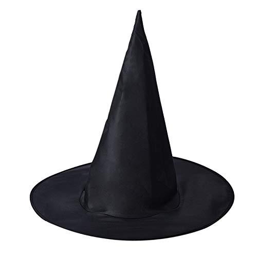 LANDFOX Halloween Hexenhut 1Pcs Adult Damen schwarz Hexe Hut für Halloween Kostüm Zubehör Hexenhut für Damen Horror Party schwarz Hexe Hut Kopfbedeckung