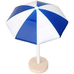 Ndier Mignon Mini-Parapluie Vue mer Parasol scène Miniature Bonsai Craft Craft Taille M Bleu