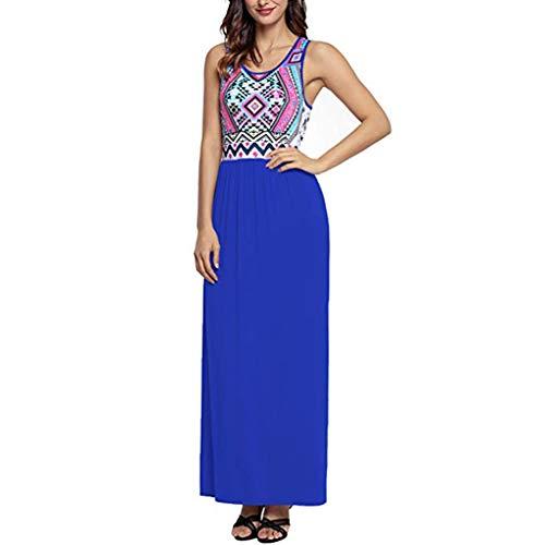 Zegeey Damen Kleid Sommer Kurzarm Schulterfrei Einfarbig Blumenkleid Maxi Kleid A-Linie Kleider Vintage Elegant LäSsige Kleidung Rundhals Basic Casual Strandkleider(S3-Blau,XXL)