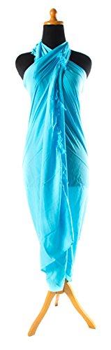 Sarong ca. 170cm x 110cm Einfarbig Unifarben Handgefertigt inkl. Sarongschnalle im Raute Design - Alle Farben zur Auswahl - Pareo Dhoti Lunghi Türkis
