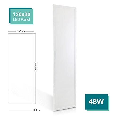 OUBO LED Panel Deckenleuchte 120x30cm Neutralweiß / 48W / 4000lm / 4000K / Silberrahmen Lampe dünn SLIM Ultraslim Deckenleuchte Wandleuchte Einbauleuchten