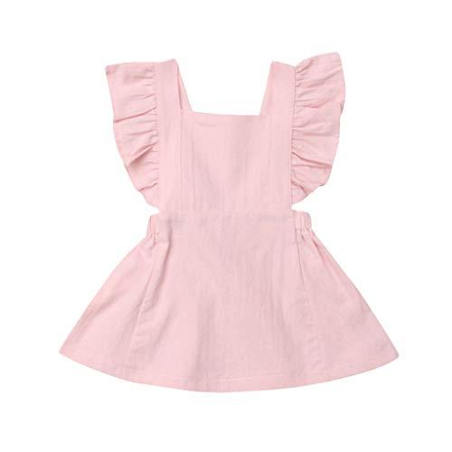 JUTOO Sommer Kleinkind neugeborenes Baby Kinder Jungen mädchen rüschen einfarbig Strampler Bodysuit Overall Kleidung (Rosa 2,100) (Baby Und Kleinkind Batgirl Kostüm)