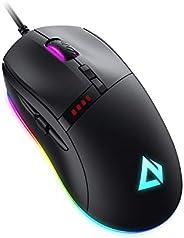 AUKEY Knight Mouse da Gioco, Mouse Gaming RGB con 10000 DPI, 8 Pulsanti Programmabili, Effetti di Illuminazion