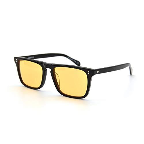 LKVNHP Neue Hochwertige Herren Sonnenbrille Markendesigner Robert Downey Sonnenbrille Für Rote Linsen Mode Retro Acetat Rahmen Mit AngelbrilleGold