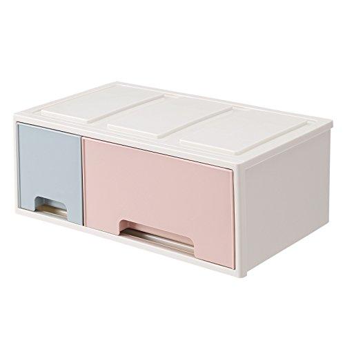 Songmics macaron organizzatore portaoggetti contenitore impilabile per cosmetici per tavolo da toletta con 2 cassetti in plastica per cosmetici penne libri per ufficio bagno 32 x 19 x 12,5 cm (l x p x a) jmu02rb