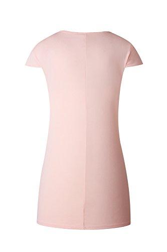 Damen Casual Kurzarm Hemd Bleistiftkleid Pink