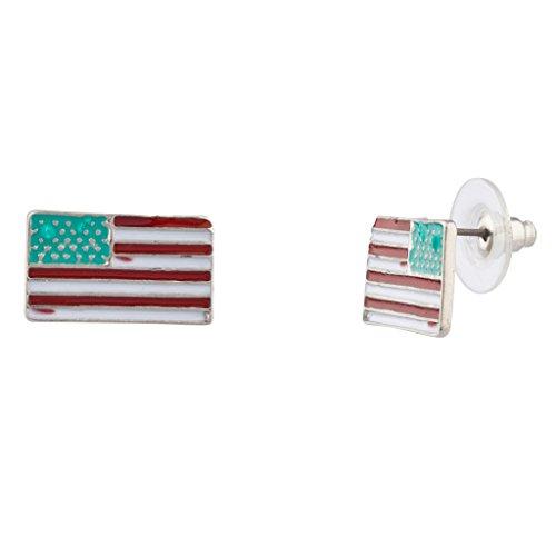 LUX Zubehör God Bless America 4. Juli Amerikanische Flagge Ohrstecker Emaille Ohrringe