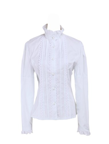 San Francisco 8562b a3502 an*tai*na* Camicia Tradizionale Lolita vittoriana in Cotone Bianco con  Volant in Pizzo e Colletto rialzato