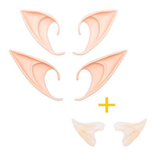 Whaline - 3 Pares de Disfraz de Elfo de látex para Disfraz de Orejas de Duende con Puntas Suaves para Disfraz de Halloween