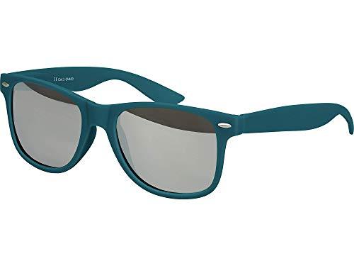 Balinco Hochwertige Nerd Sonnenbrille Rubber im Wayfarer Stil Retro Vintage Unisex Brille mit Federscharnier - 96 verschiedene Farben/Modelle wählbar (Dunkelblau/Grün - Silber verspiegelt)