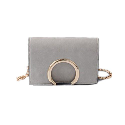 Lawevan Es Taschen Kollektion Damen Damen Mini Schultertasche verziert mit Metallring Grau