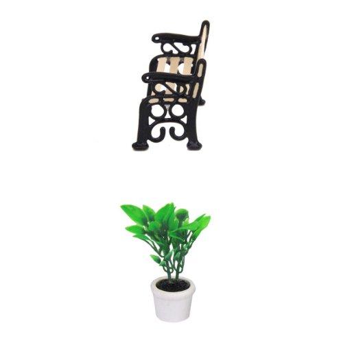1-12-dollhouse-1-banco-de-parque-y-1-planta-verde-con-maceta-blanca-minima-muneca-de-banco-de-parque