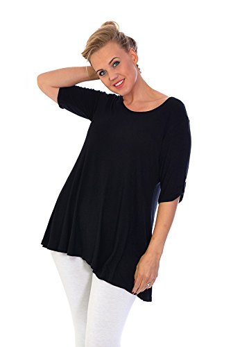 Neues Damen Übergrößen Tunika Top Frauen Neutral T-Shirt Detail Knopf Ladies Plus Size Nouvelle Collection 1129 (Größe 50-52, Schwarz) (Größe T-shirts Womens Plus)