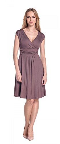 Glamour Empire Damen Skater Freizeitkleid Sommer Kleid Partykleid Gr. 36-46 256 Cappuccino