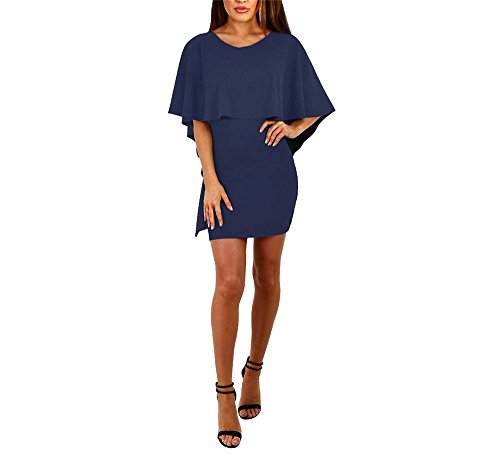 hippolo Damen Fashion Kleid Frauen Kleid CUPCAKE KLEID Umhang Rücken Bandage Kleid weiblich Kleid königsblau L