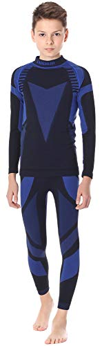 Ladeheid Kinder Mädchen Jungen Funktionsunterwäsche Set Langarm Shirt Lange Unterhose Thermoaktiv LASS0005 (Schwarz/Dunkelblau, 134-140)
