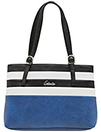 ESBEDA Dark Blue Striped Pu Synthetic Material Handbag For Women