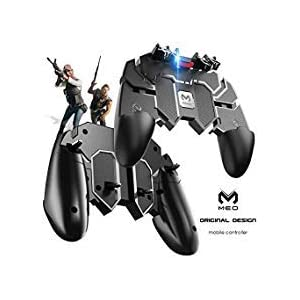Meo Mobile Game-Controller [Six-Finger] – Game-Controller mit Gaming-Trigger, Shoot Sensitive Controller Gamepad Ziel & Fire Trigger für PUBG/Fortnite (schwarz)