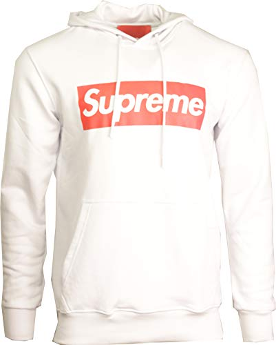 Supreme Italia Kapuzenpullover Hoodie Sweater Pullover Box Logo Sign schwarz rot Box Logo Dope Druck Streetwear (L, Weiss) Logo Hoodie Weiß