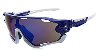 ADEWU - Sport Sonnenbrille für Herren und Damen, UV400 Schutz für Radfahren, Cycling, Angeln, Running Outdoor Sport (Blau - Weiß)