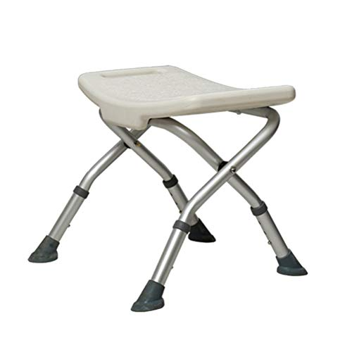 Faltbarer Duschstuhl (Duschhocker aus Aluminiumlegierung mit Armlehnen Anti-Skid Faltbare Höhenverstellbar Badestuhl für ältere Schwangere Frau)