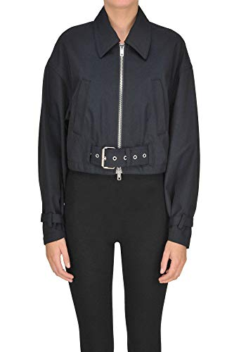 Phillip Lim 3.1 Cropped Biker Jacket Woman Navy Blue 2 US