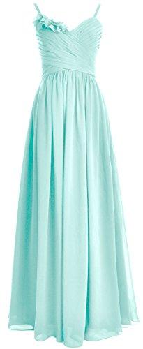MACloth Women Straps Chiffon Long Bridesmaid Dress Wedding Party Formal Gown Aqua