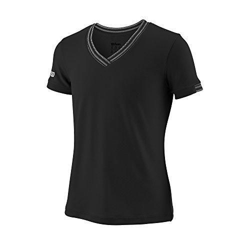 Wilson Mädchen Tennis-Kurzarmshirt mit V-Ausschnitt, G Team V-Neck, Polyester, Schwarz, Größe: S, WRA770104