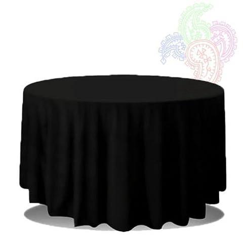Tischtuch, aus Leinen, rund, nahtlos, erhältlich in allen Größen, Schwarz 120 INCH