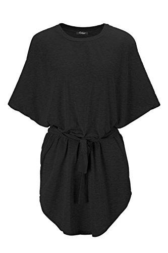 Frauen Schläger Ärmel Lose A Line Umfasst Hemd Mini Strand Kleid Black