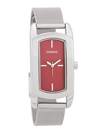 Oozoo Damenuhr mit Metallband 24 MM x 37 MM Rot/Silberfarben C9702
