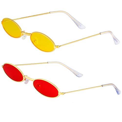 Haichen Vintage kleine ovale Sonnenbrille für Frauen Männer Retro Hippie Brille Metallrahmen Bonbonfarben (Gelb + Rot) (70 Prominente Kostüm)