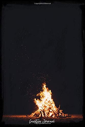 Creative Journal: Dot Grid Journal - Night Bonfire Fire Woods Travel Beach - black Dotted Diary, Planner, Gratitude, Writing, Travel, Goal, Bullet Notebook - 6x9 120 pages