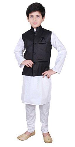 Kostüm Gandhi Kinder - Desi Sarees Jungen Modi Nehru Gandhi Weste Kostüm 006 (10 Jahr, Schwarz)