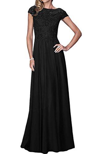 ivyd ressing Damen Exquisite breve maniche a linea Chiffon & Pizzo Lungo Abito del partito Prom Dress abito da sera Nero
