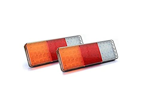 12V 75 LED Red/Yellow/White Tail Lights for Trailer Truck Boat Waterproof - A pair
