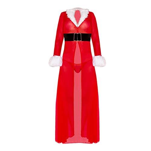Sllowwa Damen Weihnachten Fasching Langarm Weihnachten Festival Robe Dessous Cardigan Bademantel Gürtel Mini Cocktailkleid