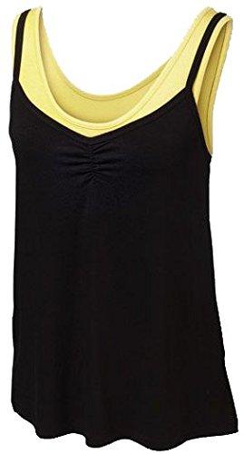 Crivit® Damen 2-in-1-Wellness-Top (Gr. L 44/46, schwarz/gelb)