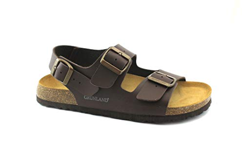 Grunland bobo sb3005 marrone sandali uomo fasce fibbie birk 41