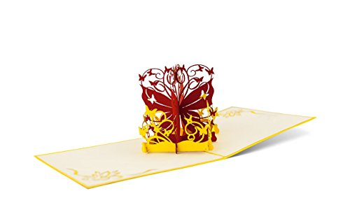 DIESE-KLAPPKARTEN® NATUR - 3D Pop-Up Karte   Verschiedene Motive   Laserschnitt   Handgefertigt   Einladungskarte   Geburtstagskarte   Taufe   Glückwunschkarte   Gutscheinkarte   Jubiläum   Grußkarte Dankeskarte   Danksagung, Diese-Klappkarten:F04 / Schmetterlinge