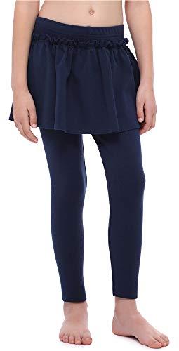 Merry Style Mädchen Warme Lange Leggings aus Baumwolle mit Rock MS10-255 (Marine, 116 cm)