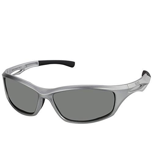 Duco Polarisierte Sport-Sonnenbrille zum Laufen Radfahren Angeln Golf TR90 Unbreakable Rahmen 6199 Gunmetal Rahmen Grau Linse