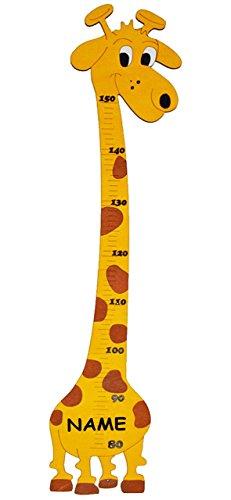 """Meßlatte - aus Holz - """" lustige Giraffe """" - Messlatte incl. Name - Kinderzimmer - Holzmeßlatte für Kinder Holzmeßlatte / Kind Tier Tiere - Giraffen für Mädchen Jungen - Kindermeßlatte / Meßleiste - Deko Wand"""