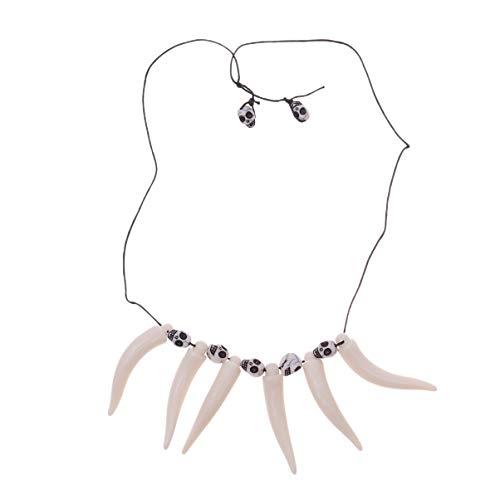 Holibanna Halskette Säbelzahn Dschungel Halskette Höhlenmensch oder prähistorisches Kostümzubehör