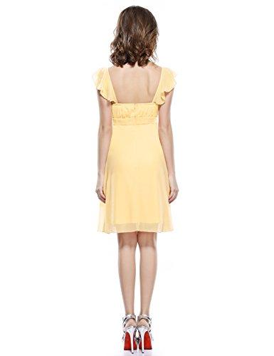 Ever Pretty Damen Faltenwurf Empire Cocktail Brautjungfernkleid 03337 Gelb
