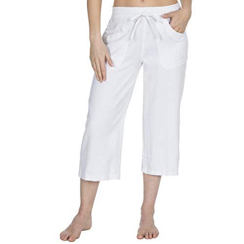 Causeway Bay Damen Leinenmischung Sommer Kurze Hose (UK 14 Approx EU 42, Weiß) White Linen Cropped Pants
