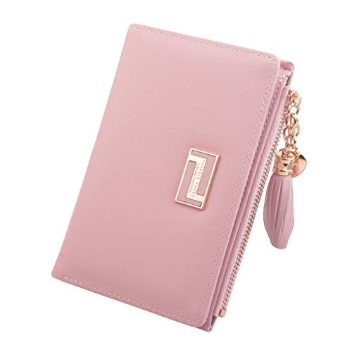 Frauen mittlere und Lange Art Reißverschluss Quaste Geldbörse Kartenhalter Tasche Schlüsseletui schwarz Fächer Leder Schlüsseltasche Hergestellt Schlüsselmäppchen Autoschlüssel (Rosa) -