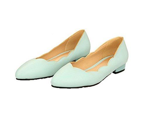 VogueZone009 Talon Chaussures Bas Femme Unie PU Cuir Azur à Couleur Tire Légeres Y0OYqrfazW