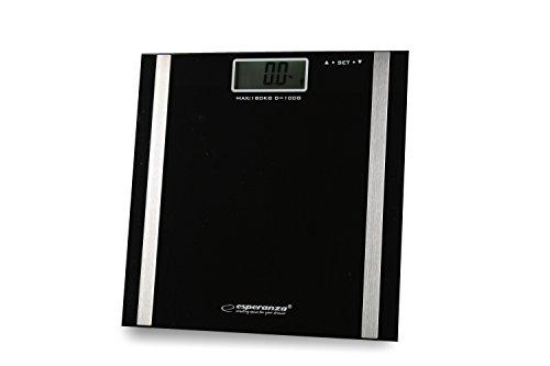Körperfettwaage schwarz zum Abnehmen für Fitnesstraining und Bodybuilding wiegt Gewicht Körper-fett % Muskeln % Knochen % Wasser % Anteil Set mit 2 Maxell AAA Batterien die Personen-waage zur Körperfett-analyse